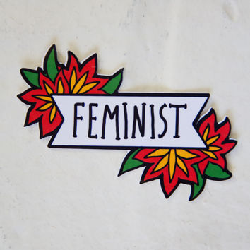 Feminist Sticker of Banner with Red Flowers