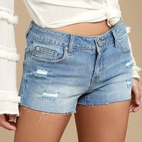 Through the Clouds Light Wash Distressed Denim Cutoff Shorts