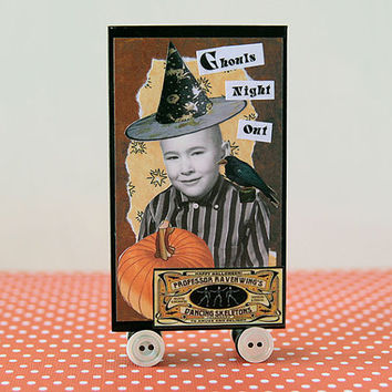 One handmade Halloween Tableau decoration featuring a different design on each side, spooky table centerpiece wizard warlock Halloween decor