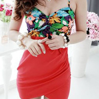 Red Floral Print Spaghetti Strap Mini Dress