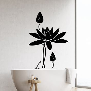 Vinyl Wall Decal Lotus Flower Water Lily Bathroom Decor Garden Stickers (2695ig)