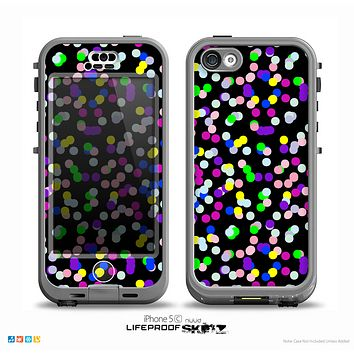 The Multicolored Polka with Black Background Skin for the iPhone 5c nüüd LifeProof Case