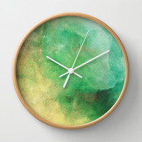 Green & Yellow paint Wall Clock by Allyson Johnson