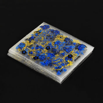Bronzing Blue Gold Foils Transfer Nail Art Sticker Decals 3D Floral Design Beauty Stamping Stickers For Nails JH129