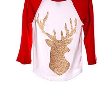 Toddler Glitter Deer Raglan, Red