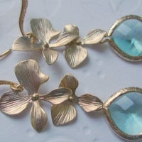 Dangle earrings, double orchid and aquamarine glass stone, Spring fashion, pastel jewelry, Wedding jewelry Blue earrings