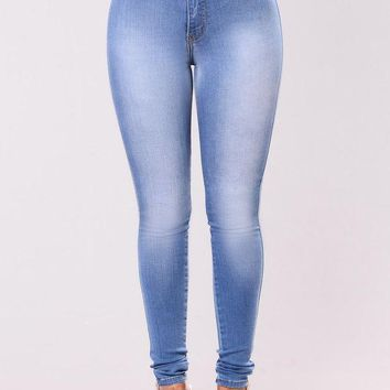 CREYUO9 Classic High Waist Skinny Jeans - Light Blue