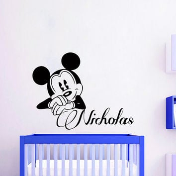 Wall Decals Personalized Name Decal Vinyl Sticker Mickey Mouse Boy Baby Children Nursery Bedroom Room Decor Home Playroom Art Murals MN518