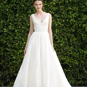 BLISS Monique Lhuillier Scoop Neck Ruched Waist Lace & Tulle Ballgown (In Stores Only) | Nordstrom