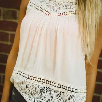 High Neck Sleeveless Lace Tank Top Blouse
