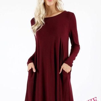Plus Size Long Sleeve Round Collar Solid Color Dress