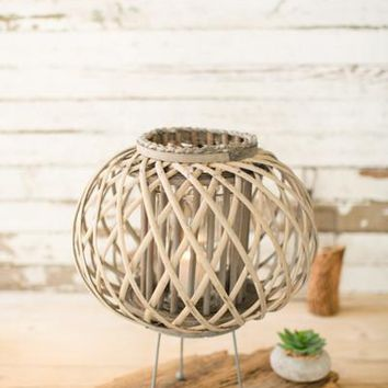 Small Grey Willow Lantern With Legs