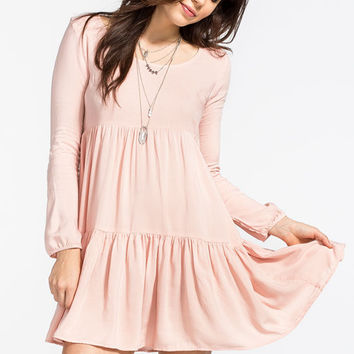 Full Tilt Tiered Babydoll Dress Blush  In Sizes