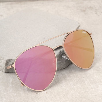 Quay Indio Gold and Pink Aviator Sunglasses