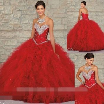 2017 Red Gorgeous Retro Ball Gown Beading Quinceanera dresses Sleeveless Off the Shouldre Vestido lo