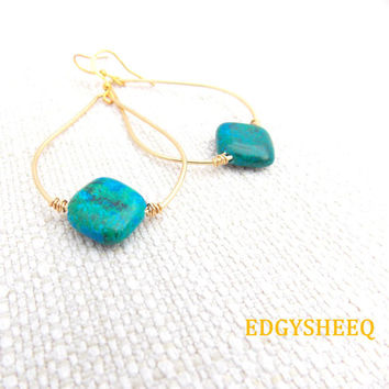 Chrysocolla Chandelier Earrings, Hand hammered Wire Wrapped Gemstones Earrings, Gemstone Dangle Earrings, Tear drop Brass Earrings