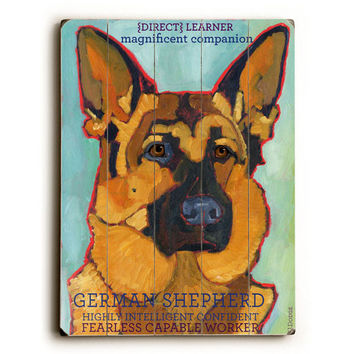 German Shepherd by Artist Ursula Dodge Wood Sign