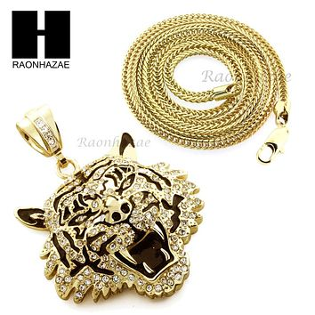 """Men Iced Out Drake Tiger only Pendant or w/ 4mm 36"""" Franco Chain Necklace FS009"""