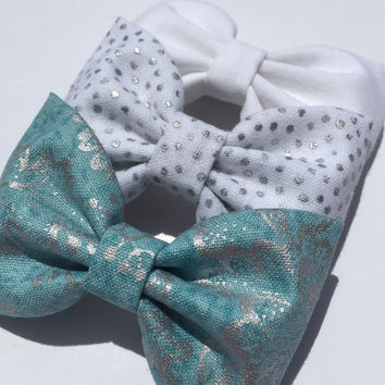Cute silver bow lot Seaside Sparrow hair bows girl hair bows hair bows for girl toddler bows hair bows for teens girl bows Hair bow blue bow