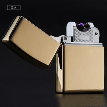 High Quality Metal Arc Lighters metal USB Rechargeable Flameless Electric Arc Windproof Cigar Cigarette Lighter