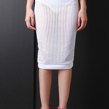 Laser Cut Perforated Midi Skirt