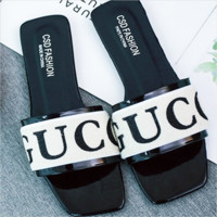 Gucci Female slippers, square head flat shoes, black sandals, one-and-a-half