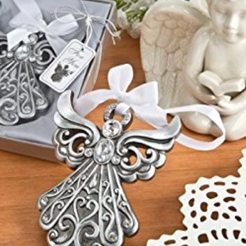 "Decorative Angel Ornament. 4.25"" Long X 3.5"" Wide, Each Is Made From Poly Resin with Antique Silver Finish with a Ornate Scroll Design on Body and Wings. Package Contains 1."
