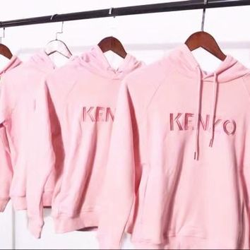 KENZO Embroider Women's Long Sleeve Hoodies Sweater G-G-JGYF