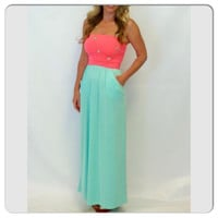 New Boutique Style Neon Pink And Mint Color Block Strapless Maxi Dress Size large