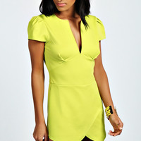 Kianna Cap Sleeve Cut Front Skort Playsuit