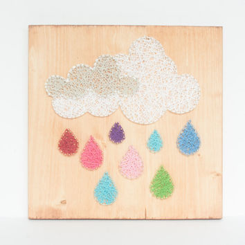 Cloud and Raindrops string art, string art wall decor, colorful kids room or nursery decoration, silver lining cloud, Easter decorations