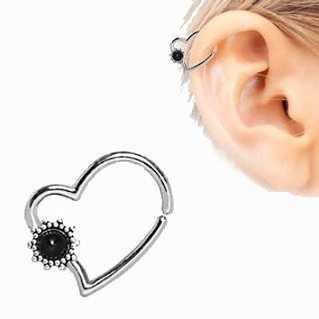 316L Stainless Steel Black Flower Heart Annealed Cartilage Earring