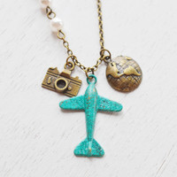 airplane necklace,aviation,aeroplane necklace,globetrotter,world traveler,camera necklace,patina plane aircraft travel,christmas holiday
