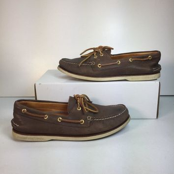 Sperry Men's Dark Brown Gold Cup Authentic Original Boat Shoe, Size 10 (Used)