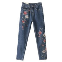 FIRSTTO Floral Embroidery Demin Skinny Jeans Pencil Pants Zipper Pocket Button Cozy Casual Women Slim Trousers femme Dark Blue