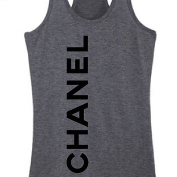 CHANEL Apparel. RacerBack Tank Top.  Fashion by BackTrackApparel