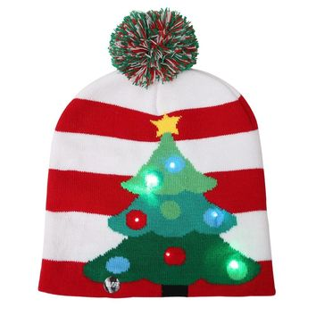 Christmas Sweater LED Tree Beanie Christmas Beanie Ugly Christmas Light Up Knitted Hat for Children Adult Christmas Party