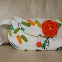 Small Clutch  Small Size Pouch with Orange Flower Bridesmaids Gifts Wedding clutch Bridesmaids Pouches