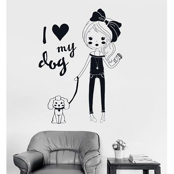 Vinyl Wall Decal Pretty Teen Girl With Dog Room Decor Stickers Unique Gift (ig3518)