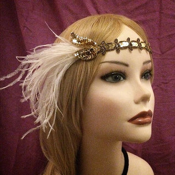 1920's style gold sequin flapper headband head piece headpiece hair piece head gatsby inspired 1920s 20s flapper girl ostrich feather ivory