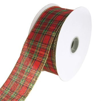 Festival Plaid Wired Christmas Holiday Ribbon, Red, 2-1/2-Inch, 50 Yards