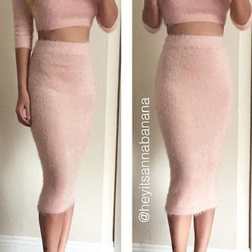 Fuzzy Blush Pink Sweater Two-Piece Dress