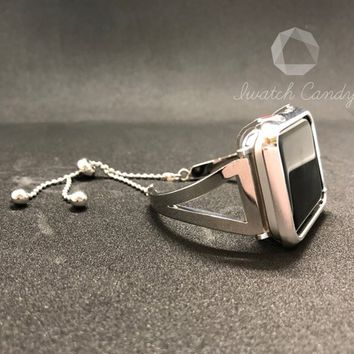 40mm 44mm Bangle Cuff Apple Watch Band Womens Silver Chain Silver Iwatch Smart Watch Crystal and Bling