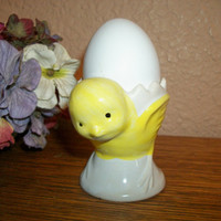 Egg Cup Baby Chick Dish Yellow Ceramic Chicken Serving Bowl Vintage Tableware Easter Spring Decor