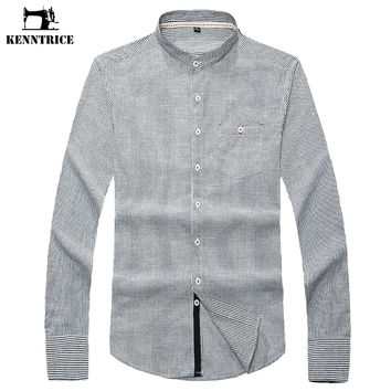 Striped Shirt Men Spring Casual Shirts Gray Blue Dress Shirts Cotton Solid Color Stand Collar