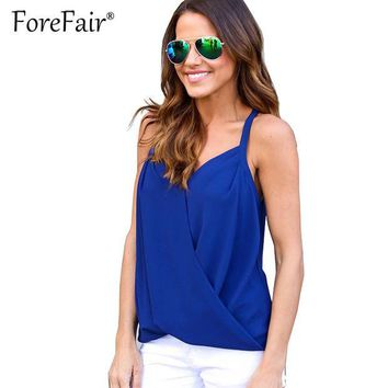 DKF4S Forefair Summer Blusas Women Top Backless Stitch Chiffon Sheer T-shirt Crisss Cross V Neck Tops 2017 Sexy Halter Vest