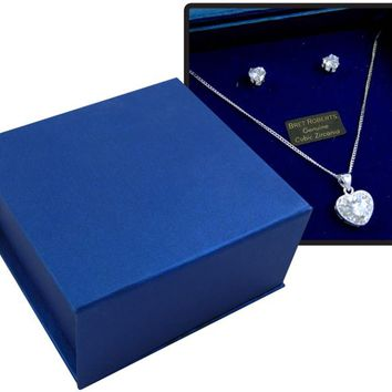 Bret Roberts Cubic Zirconia Heart Earrings And Necklace Set