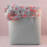 Aqua and Coral Fabric Basket With Detachable Fabric Flower Pin for Storage Or Gift Giving
