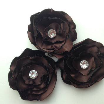 BROWN fabric flowers, weddings decoration, parties decorations,