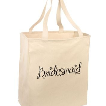 Bridesmaid Design - Diamonds Large Grocery Tote Bag